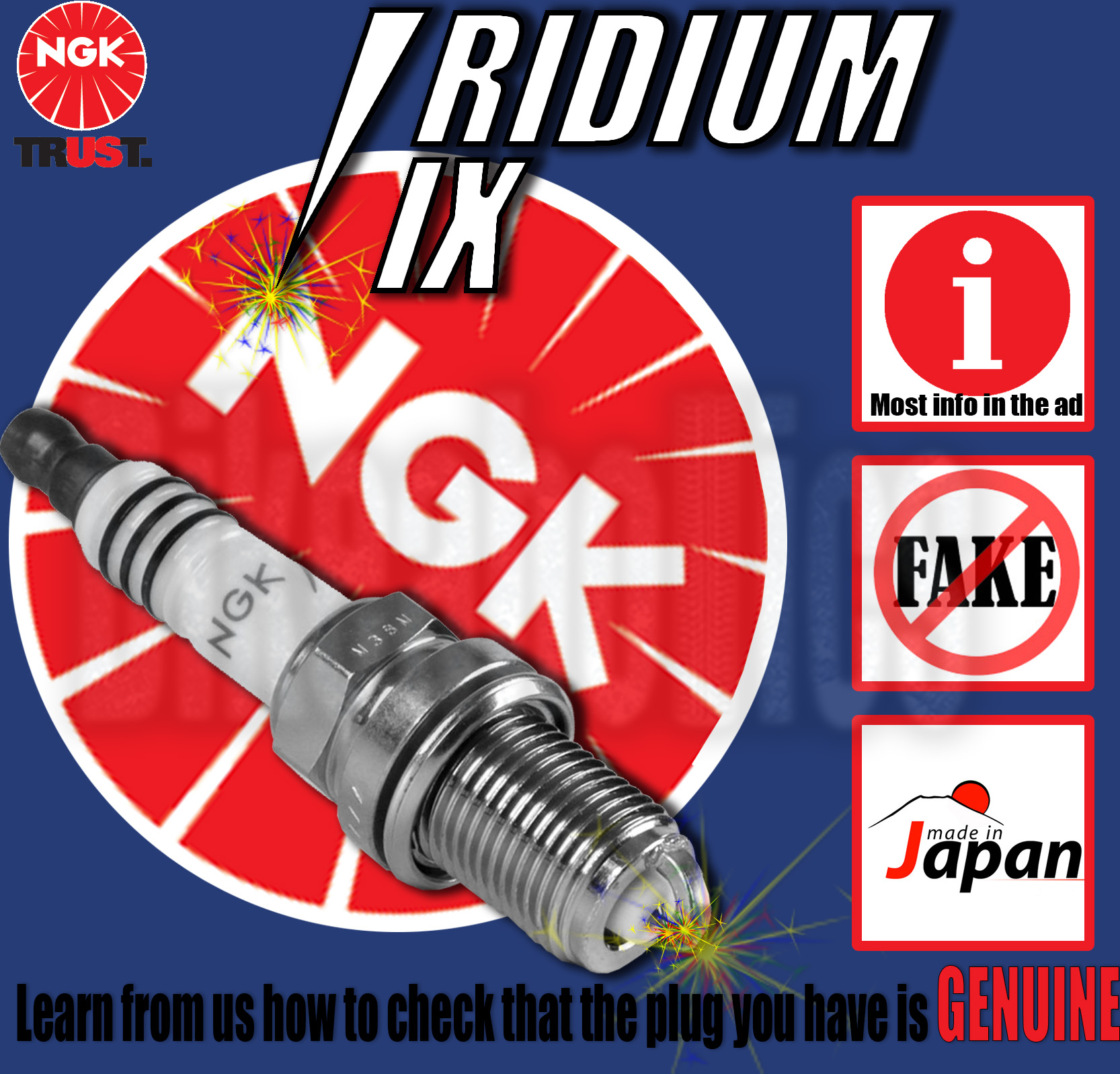 NGK Iridium Spark Plug For Suzuki 1991 GS500 EM