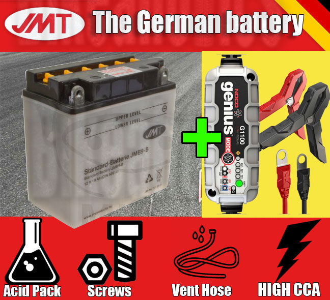 Premium JMT battery + Noco G1100 charger Vespa PX 200 E GS Grand Sport 1995