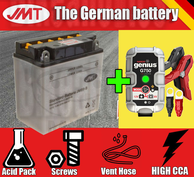 Premium JMT battery + Noco G750 charger- Cagiva N1 125 Planet - 1999